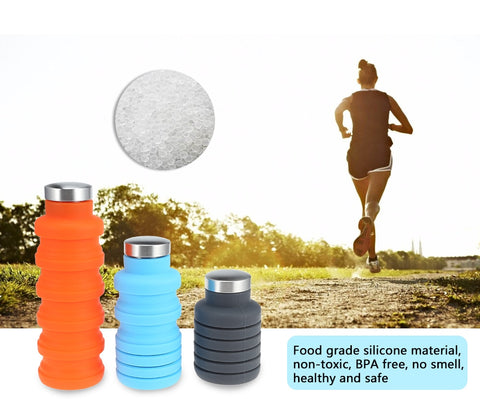 Water Bottle, Retractable -Folding- Portable silicone 500ML