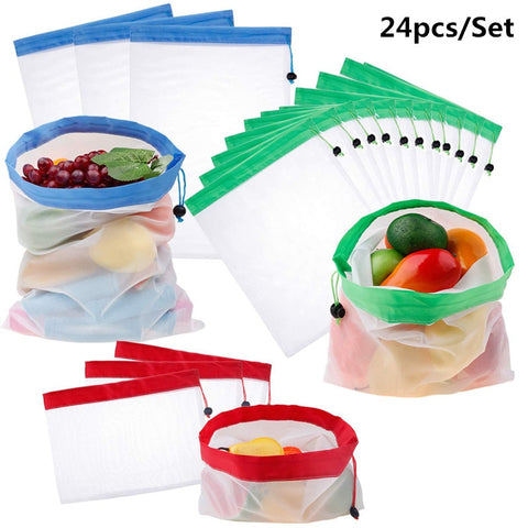 Image of 24pcs/set Reusable Mesh Produce Bags Washable Bags for Grocery Shopping Storage Fruit Vegetable Toys