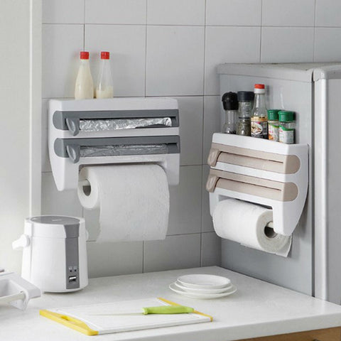 Image of Kitchen storage rack, paper towel holder, Aluminum foil, cling wrap dispenser -Cutter. Wall mounted space and time saver.