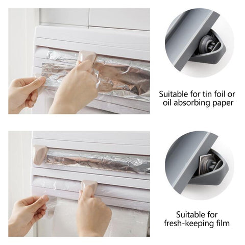 Kitchen storage rack, paper towel holder, Aluminum foil, cling wrap dispenser -Cutter. Wall mounted space and time saver.