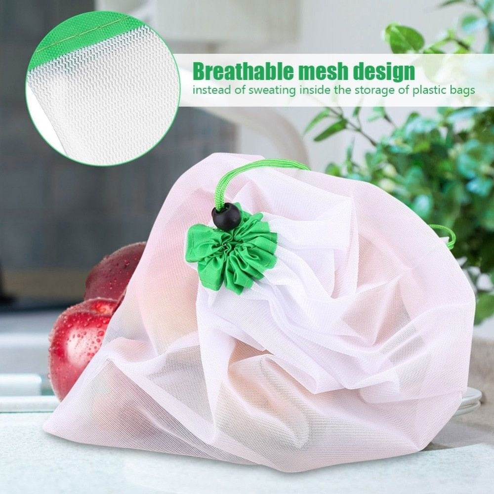 24pcs/set Reusable Mesh Produce Bags Washable Bags for Grocery Shopping Storage Fruit Vegetable Toys