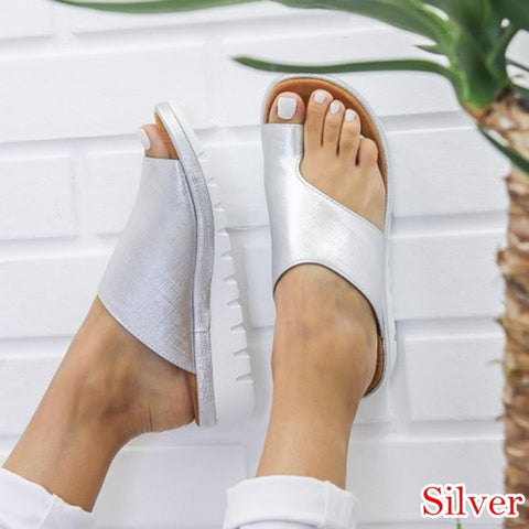 Image of HEFLASHOR Soft Big Toe Foot Correction Sandal Women PU Leather Shoes Comfy Platform Flat Sole Ladies Orthopedic Bunion Corrector