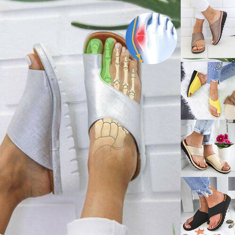 HEFLASHOR Soft Big Toe Foot Correction Sandal Women PU Leather Shoes Comfy Platform Flat Sole Ladies Orthopedic Bunion Corrector
