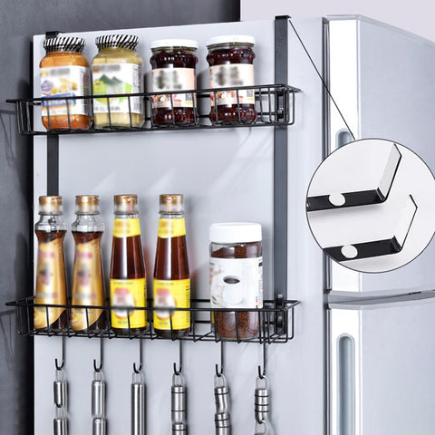 Image of Storage Rack Shelf Cupboard Organizer Kitchen Home Basket Practical Countertop Spice Cabinet Space Saving Refrigerator Hanging