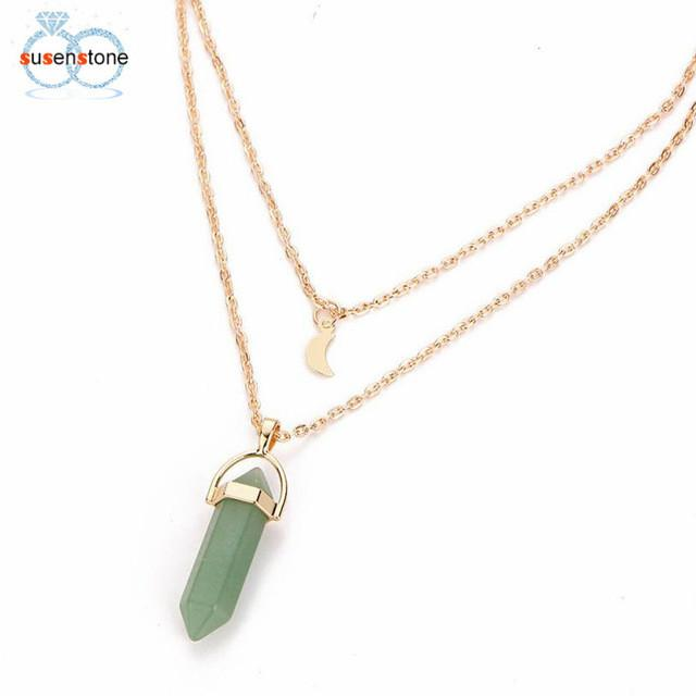 SUSENSTONE Women Multilayer Irregular Crystal Opals Pendant Necklace
