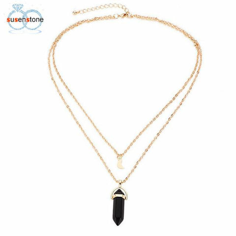 Image of SUSENSTONE Women Multilayer Irregular Crystal Opals Pendant Necklace