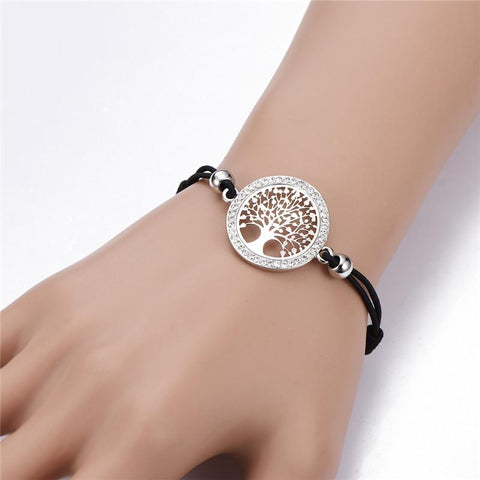 Image of Tree Of Life Charm Bracelet For Women Silver, Gold, CZ Crystal, Rope Bracelet-Every One You Buy Plants A Tree