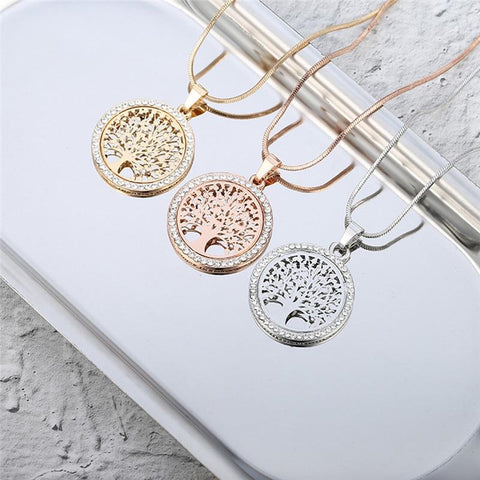 Image of Tree Of Life Crystal Round Small Pendant Necklace Gold Silver Colors Bijoux Collier Elegant Women Jewelry
