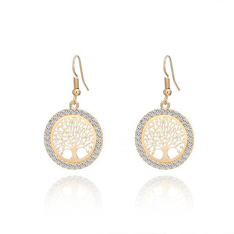 Image of Tree Of Life Gold Crystal Earrings For Women   4 Colors