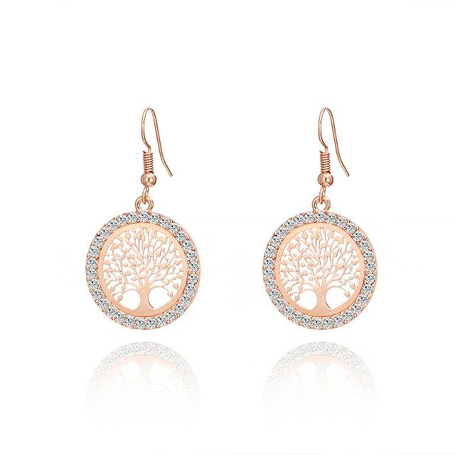Tree Of Life Gold Crystal Earrings For Women   4 Colors