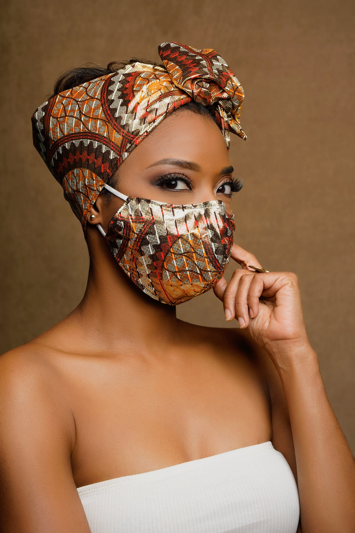 Ora African Print Gold Wired Head wrap + headwrap