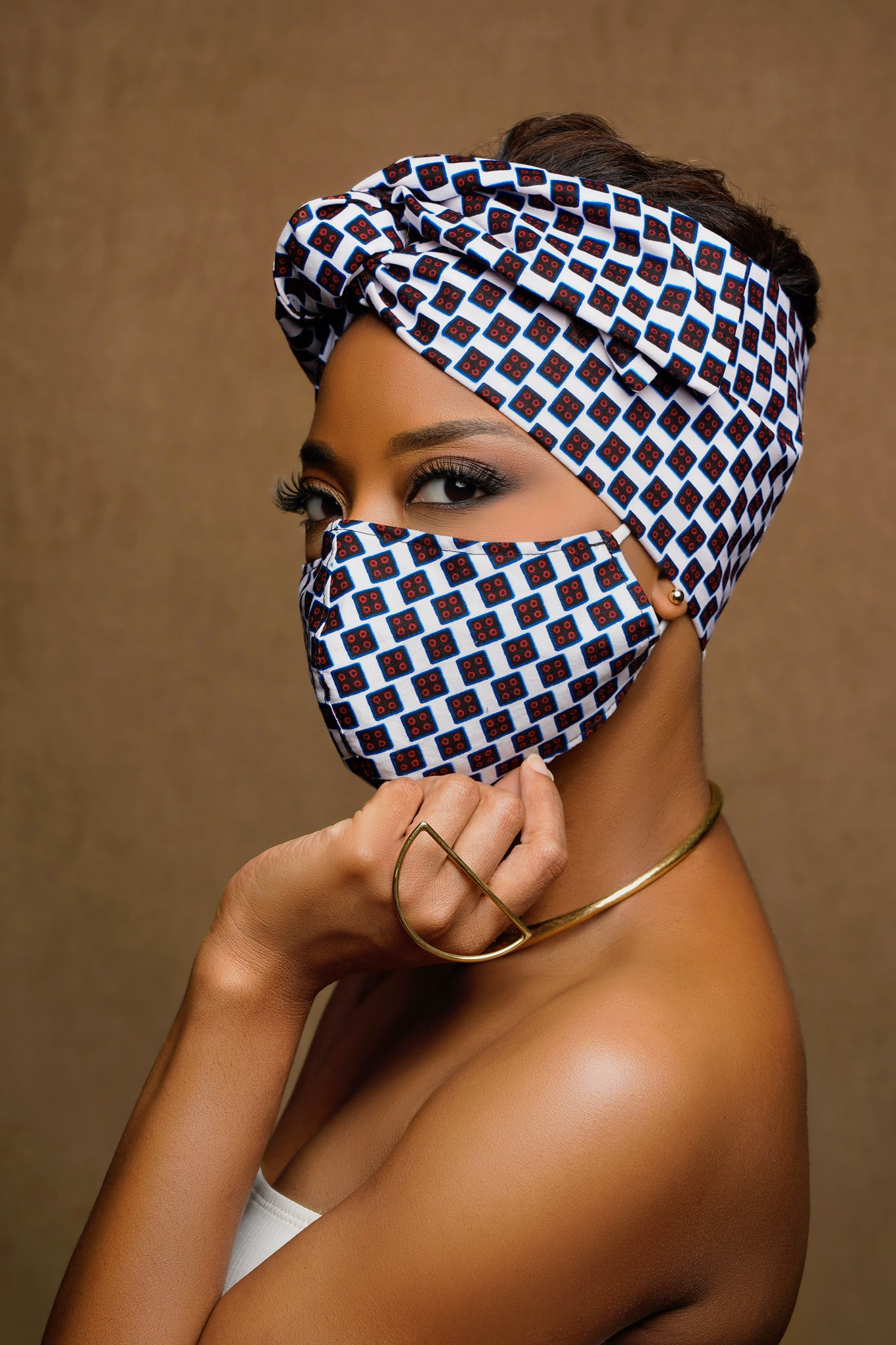 Domino Flowers Print Wired Head wrap + Matching Mask