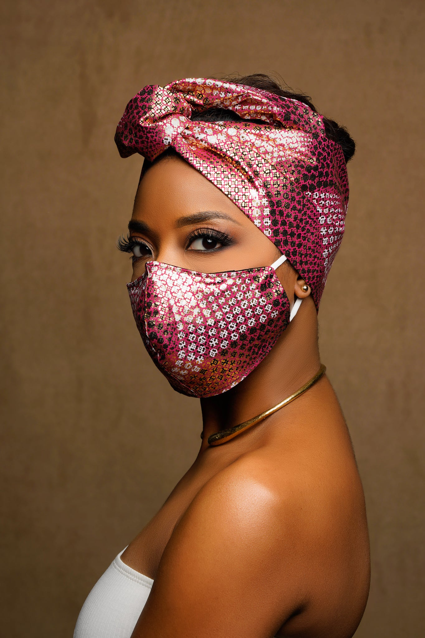 Rose African Print Wired Head wrap + Mask