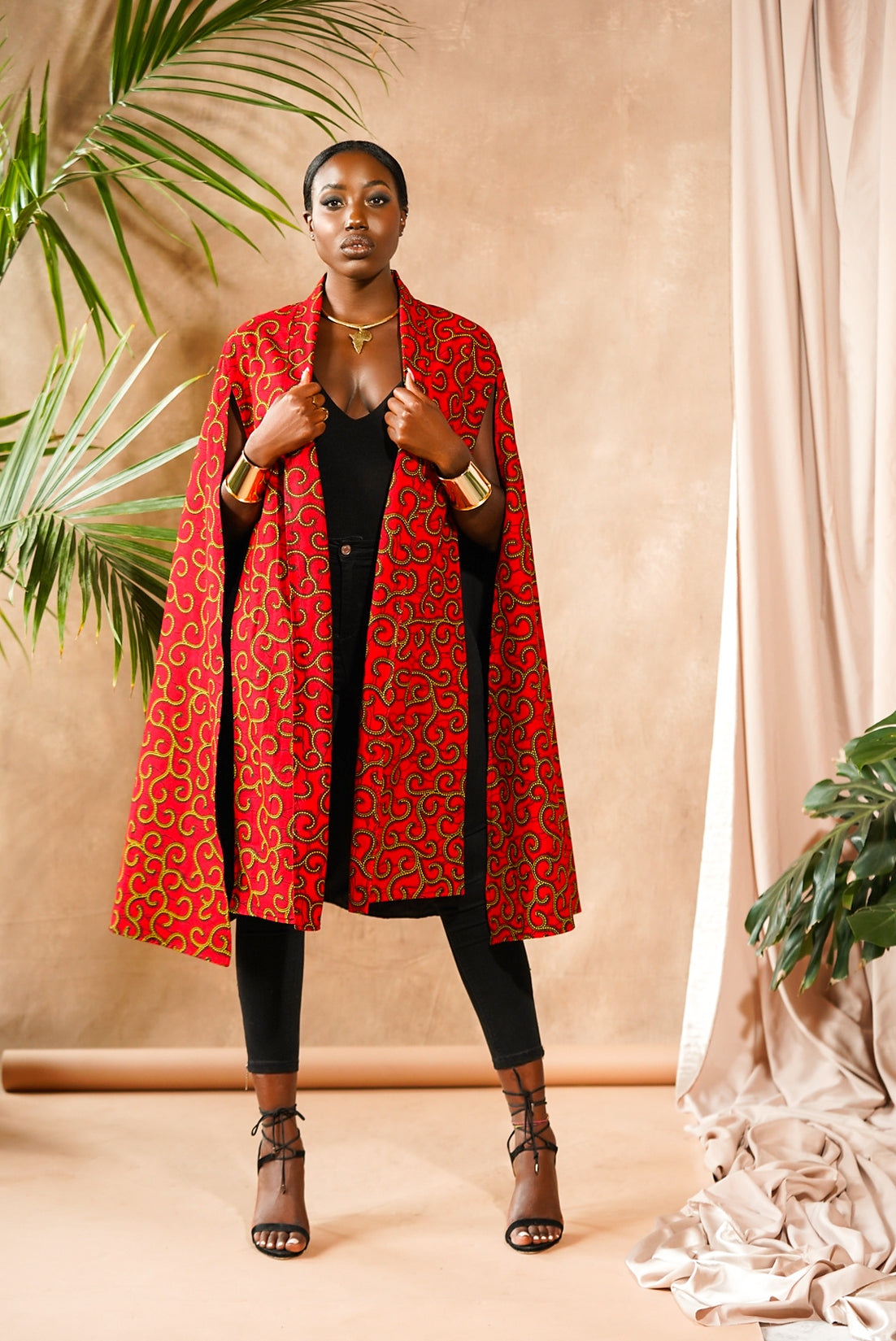 Reversible African Print Red Cape Jacket