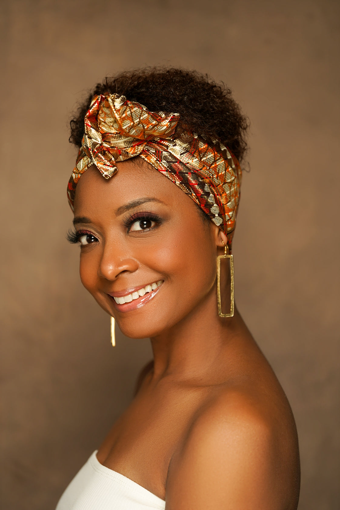 Ora African Print Gold Wired Head wrap