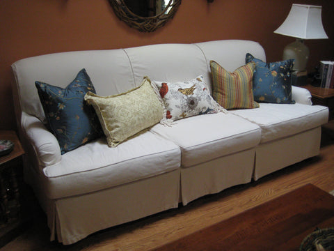 Tight Back sofa with canvas slipcover