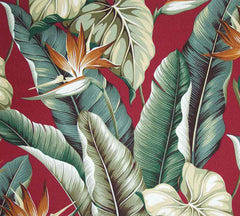 Bird of Paradise Fabric Burgundy Red