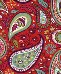 Boho Paisley Fabric, Poppy Red