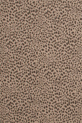 Cub Animal Print Fabric, Brown on Flax Cotton