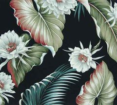 Night Blooming Black Tropical Fabric