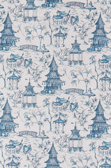 Pagodas Chinoiserie Toile Print, Seaside Blue