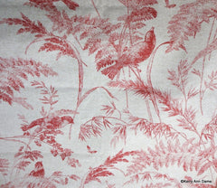 Birds and Branches Toile Print on Flax Cotton, Coral Red