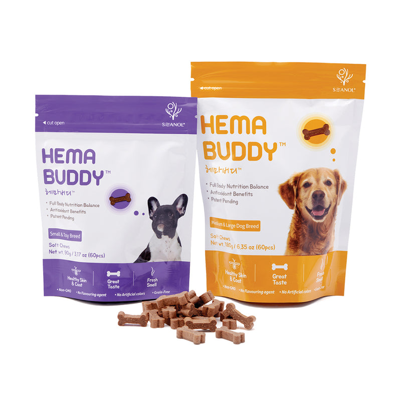 HemaBuddy™ Dog Health Supplement and Treat | Formulated by dog chefs and vets with best ingredients for dogs. Soft chews and complete nutrition supplement for dogs. Dog arthritis, dog joints, dog skin and coat supplements. Supplements for old senior dogs. Delicious training treat packed with high-quality natural meat. hemabuddy hk botamedi hk