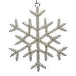 Silver snowflake decoration on a white background