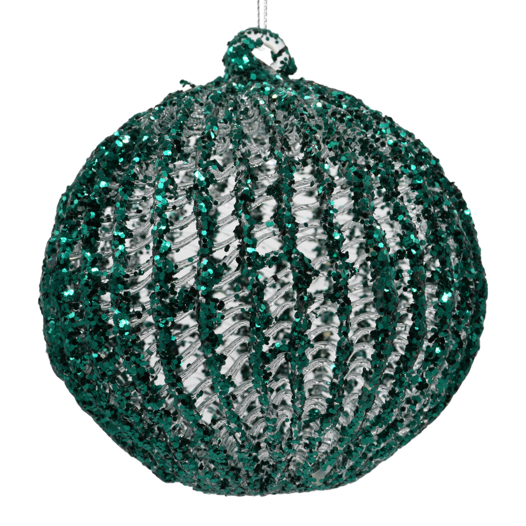 Green sparkly Christmas Decoration on white background
