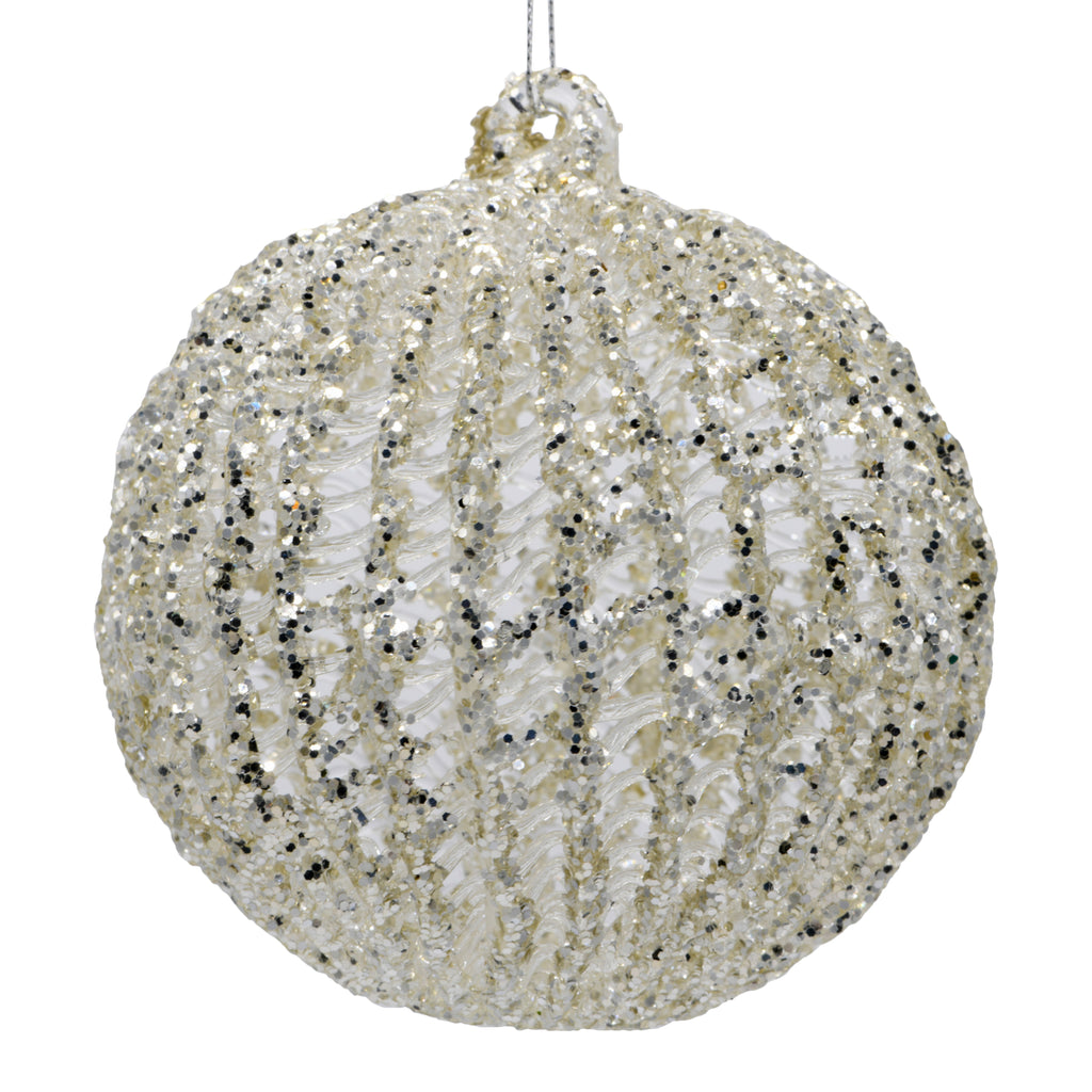 Sparkly silver Christmas decoration on a white background