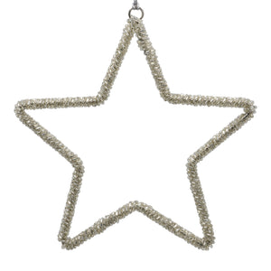 Beaded flat Christmas star in silver on a white background
