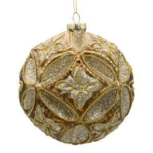 Gold sparkly large Christmas bauble on a white background