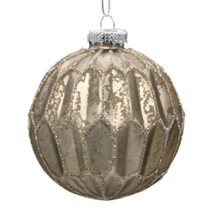 Bronze Christmas tree decoration on a white background