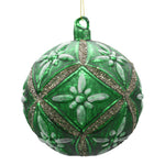 Bright green large Christmas decoration on a white background