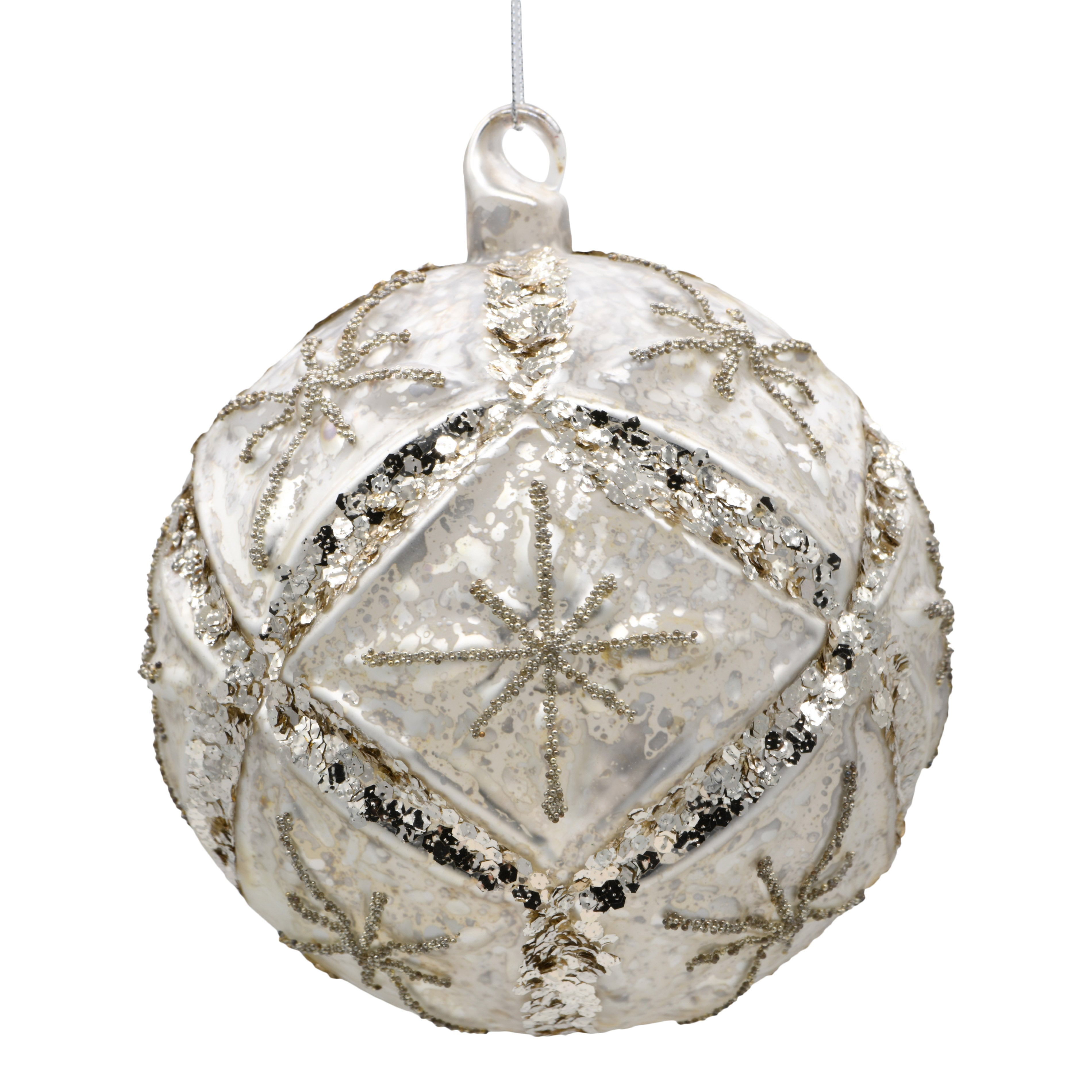 White sparkly Christmas decoration on a white background