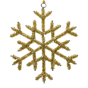 Gold Snowflake Christmas Decoration on a white background