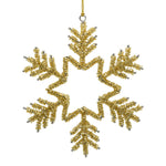 Gold Christmas Snowflake Ornament on white background
