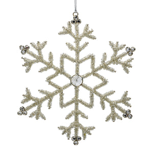 Silver Christmas Snowflake ornament on a white background