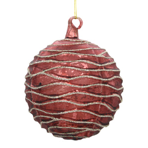 Luxury  burgundy coloured Christmas bauble on white background