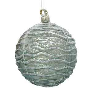 Blue Christmas bauble on white background