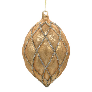 Gold Christmas Tree Decoration on white background