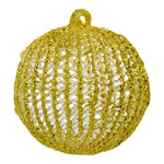 Gold Christmas tree bauble on white background