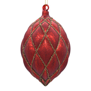 Large red Christmas tree decoration on white background