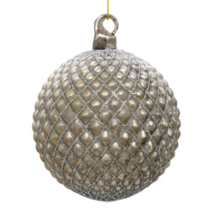 Luxury bronze Christmas bauble on white background