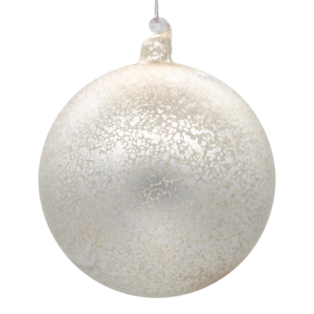 Large white Christmas tree bauble on white background
