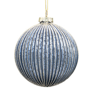 Set of 6 Ribbed Baubles - Blue
