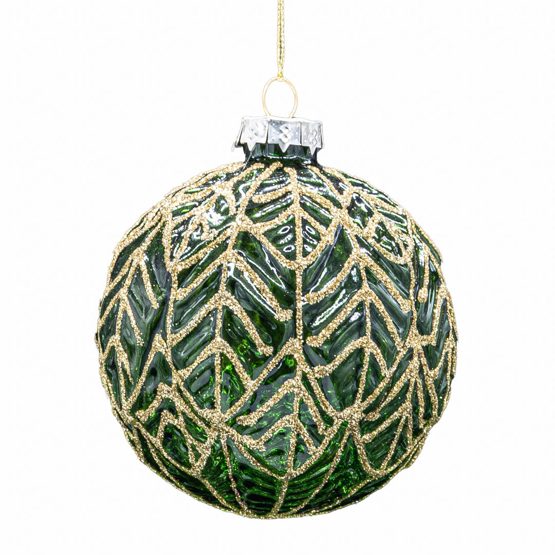 Set of 6 Leaf Baubles - Dark Green