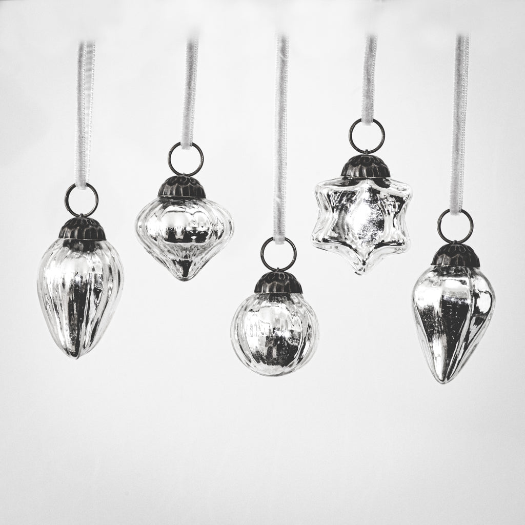 Set of 5 Mini Silver Baubles