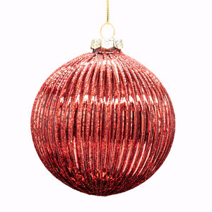 Set of 6 Ribbed Baubles - All Red
