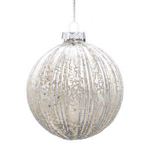 Set of 6 Ribbed Baubles - Silver